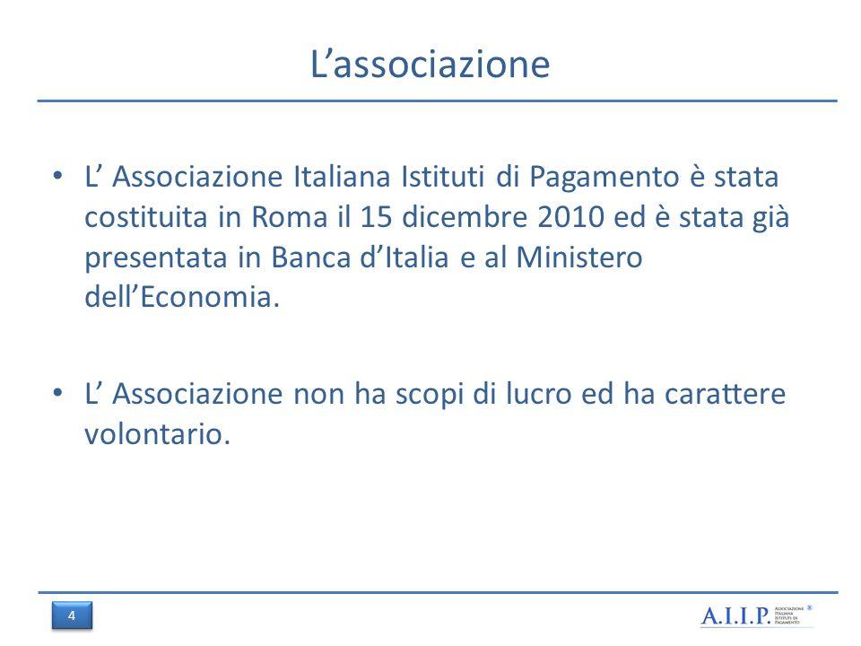 Lassociazione L Associazione Italiana Istituti di Pagamento è stata costituita in Roma il 15 dicembre 2010 ed è stata già presentata in Banca dItalia e al Ministero dellEconomia.