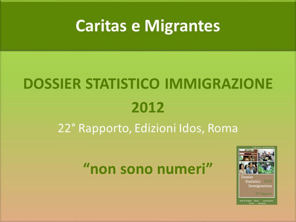 Caritas e Migrantes DOSSIER STATISTICO IMMIGRAZIONE 2012 22° Rapporto, Edizioni Idos, Roma non sono numeri DOSSIER STATISTICO IMMIGRAZIONE 2012 22° Ra