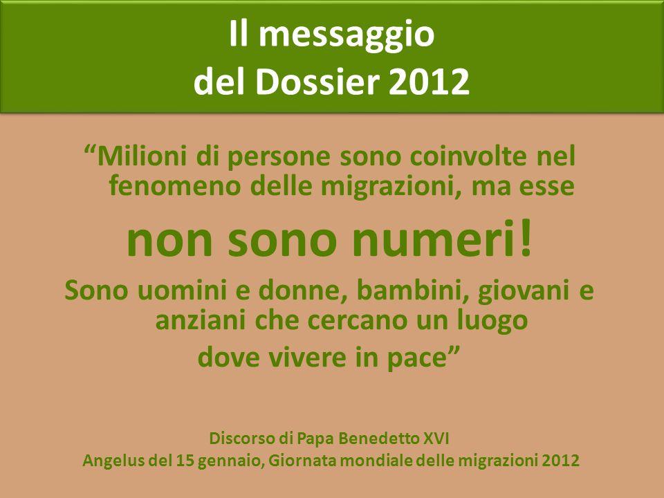 Il messaggio del Dossier 2012 Il messaggio del Dossier 2012 Milioni di persone sono coinvolte nel fenomeno delle migrazioni, ma esse non sono numeri!