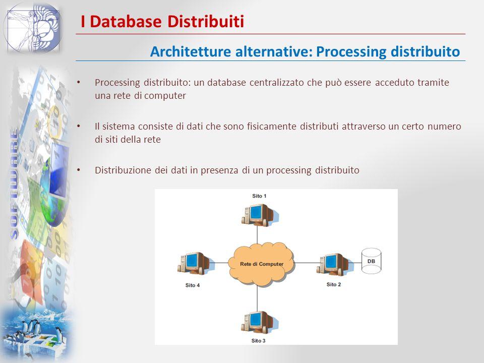 I Database Distribuiti Processing distribuito: un database centralizzato che può essere acceduto tramite una rete di computer Il sistema consiste di d