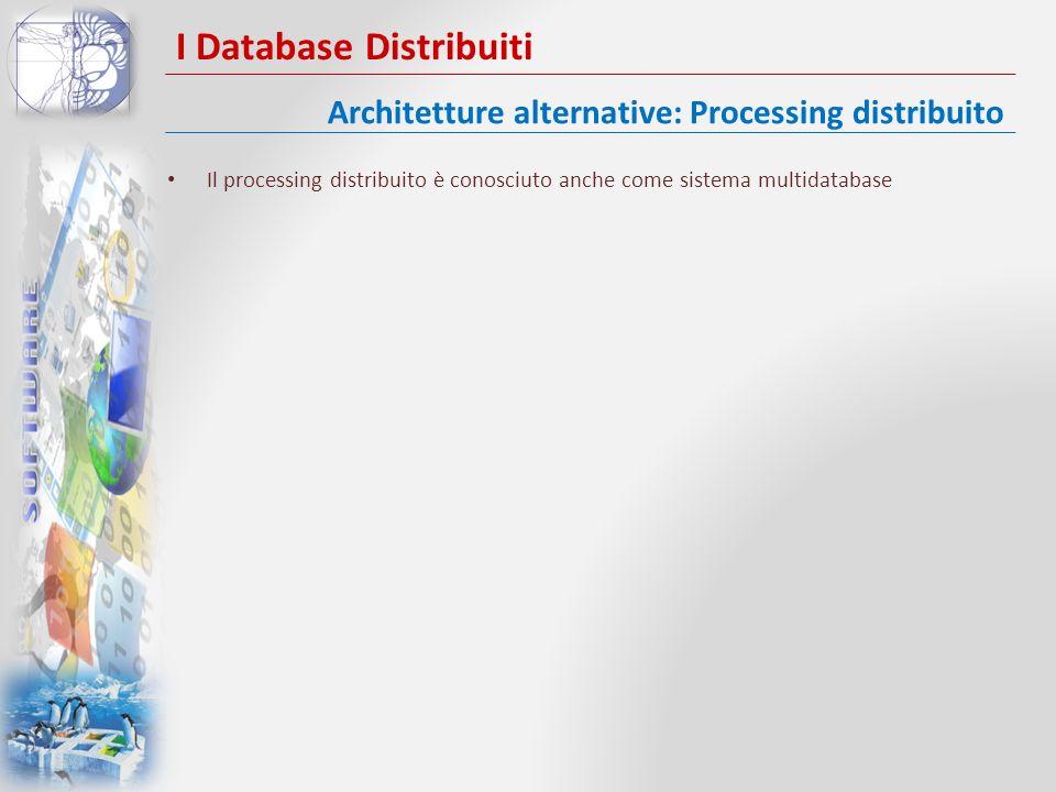 I Database Distribuiti Il processing distribuito è conosciuto anche come sistema multidatabase Architetture alternative: Processing distribuito