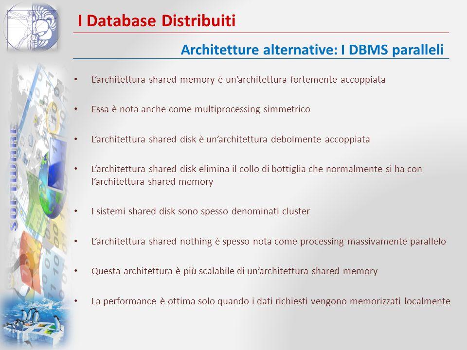 I Database Distribuiti Larchitettura shared memory è unarchitettura fortemente accoppiata Essa è nota anche come multiprocessing simmetrico Larchitett