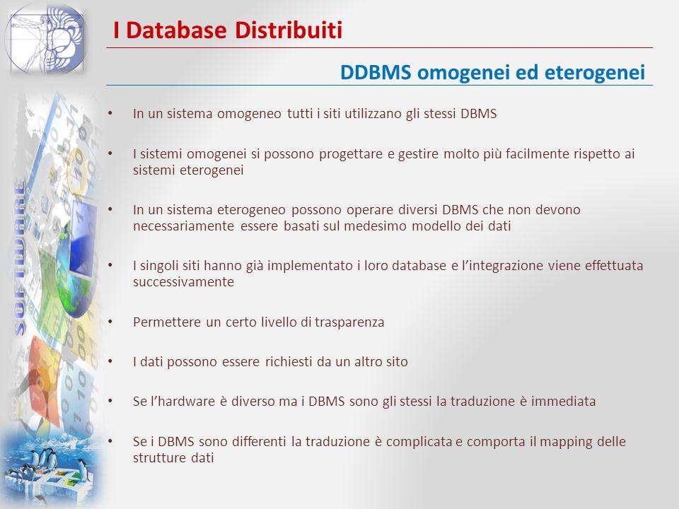 I Database Distribuiti In un sistema omogeneo tutti i siti utilizzano gli stessi DBMS I sistemi omogenei si possono progettare e gestire molto più fac