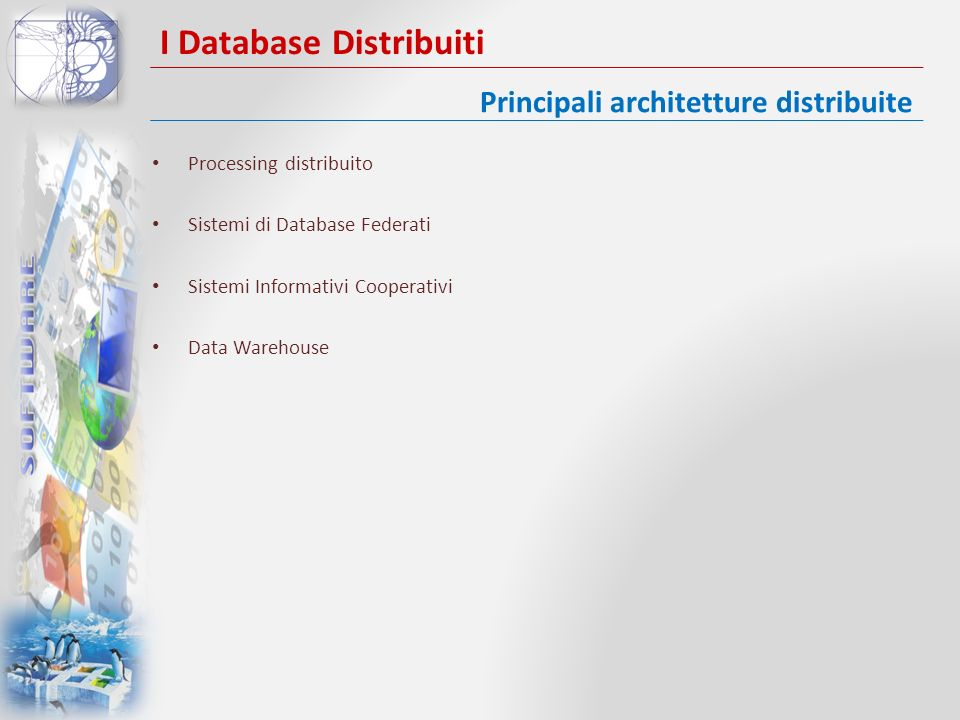 I Database Distribuiti Processing distribuito Sistemi di Database Federati Sistemi Informativi Cooperativi Data Warehouse Principali architetture dist