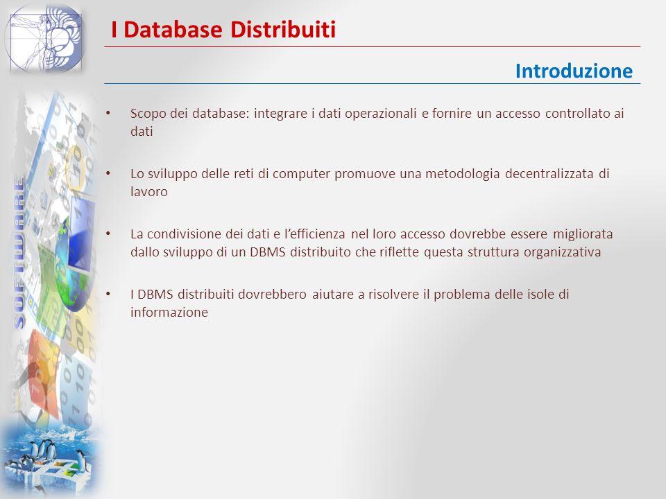 I Database Distribuiti Database distribuito: una collezione logicamente correlata di dati condivisi DBMS distribuito: un sistema software che permette la gestione dei database distribuiti Un database distribuito consiste in un singolo database logico suddiviso in un numero di frammenti Ciascun sito è capace di processare indipendentemente le richieste degli utenti che coinvolgono i dati locali Applicazioni locali e applicazioni globali Concetti fondamentali