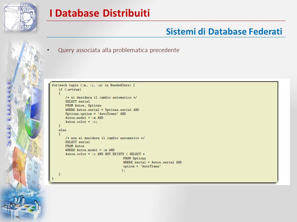 I Database Distribuiti Query associata alla problematica precedente Sistemi di Database Federati