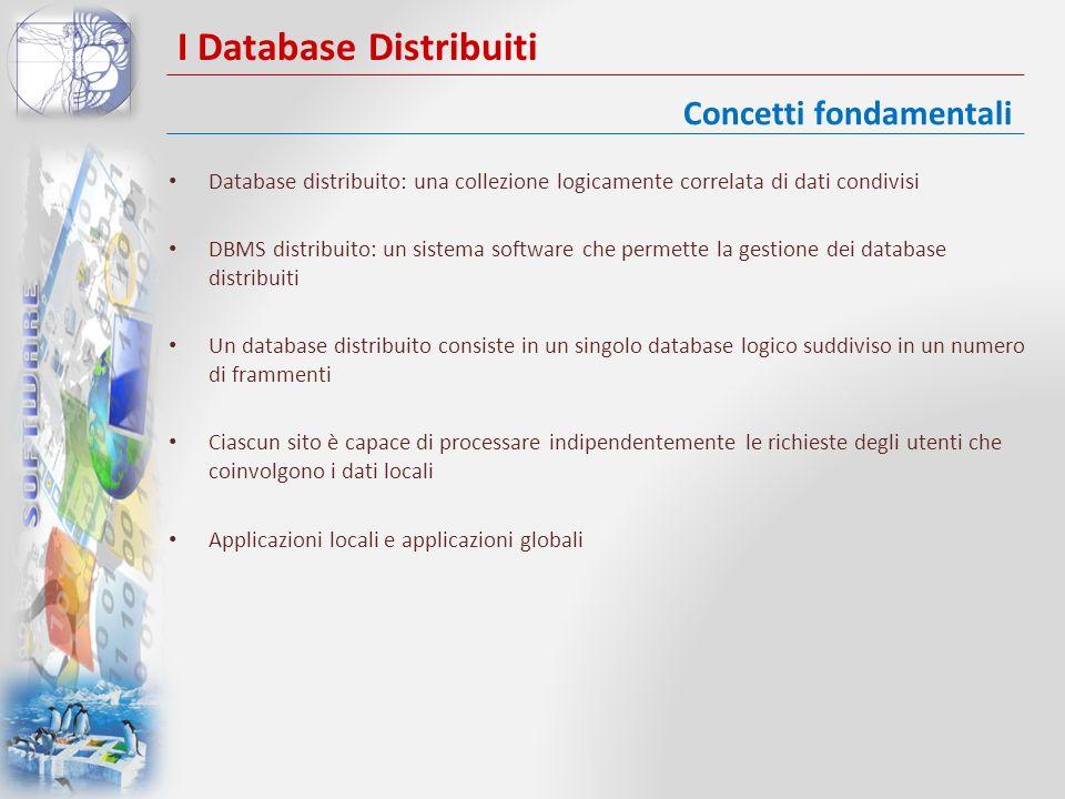 I Database Distribuiti Un DDBMS ha le seguenti caratteristiche: – È una collezione di dati condivisi logicamente correlati – I dati sono suddivisi in un certo numero di frammenti – I frammenti possono essere replicati – I frammenti e le repliche vengono allocati presso opportuni siti – I siti sono collegati da reti di comunicazione – I dati su ciascun sito sono sotto il controllo di un DBMS – Il DBMS su ciascun sito può gestire applicazioni locali autonomamente – Ciascun DBMS partecipa ad almeno unapplicazione globale Concetti fondamentali