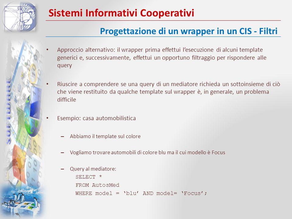 Sistemi Informativi Cooperativi Approccio alternativo: il wrapper prima effettui lesecuzione di alcuni template generici e, successivamente, effettui