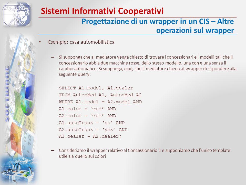 Sistemi Informativi Cooperativi Esempio: casa automobilistica – Si supponga che al mediatore venga chiesto di trovare i concessionari e i modelli tali