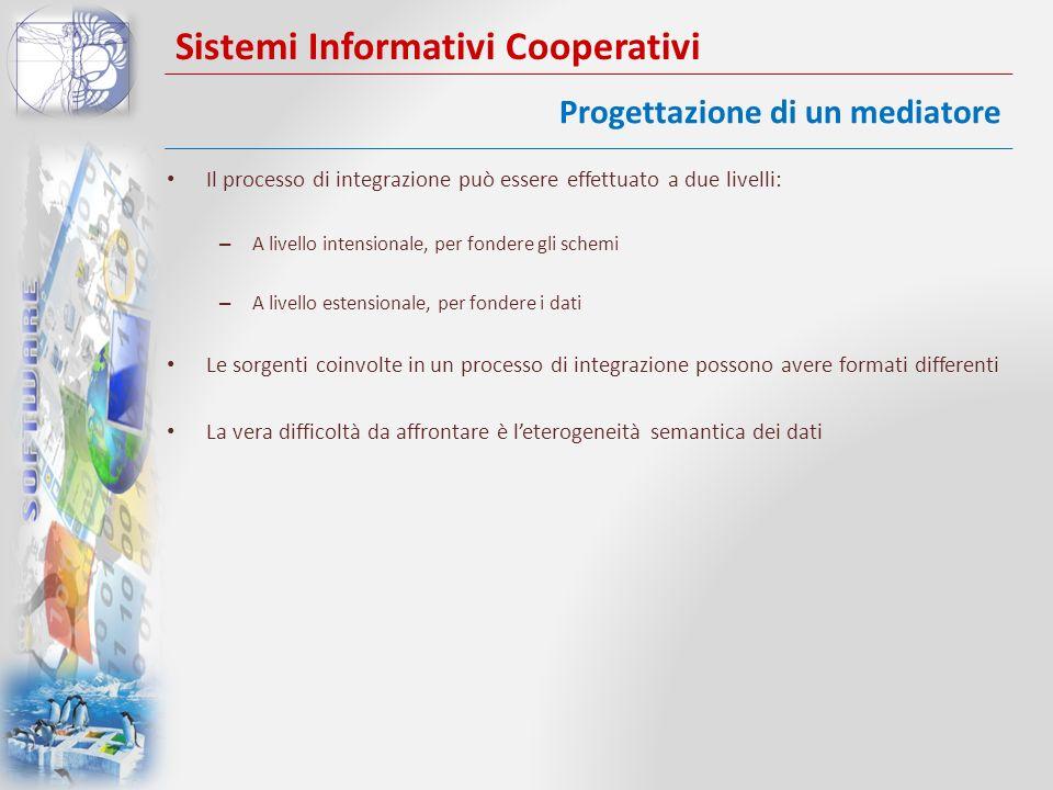 Sistemi Informativi Cooperativi Il processo di integrazione può essere effettuato a due livelli: – A livello intensionale, per fondere gli schemi – A