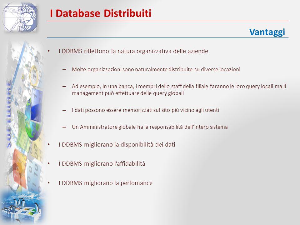 I Database Distribuiti I DDBMS abbattono i costi – Legge di Grosch: la potenza di calcolo cresce secondo il quadrato dei costi – Attualmente è generalmente riconosciuto che costa molto meno realizzare un sistema di piccoli computer che abbiano la potenza equivalente di un singolo grosso computer – Se gli utenti di un database sono geograficamente sparsi I DDBMS consentono una crescita modulare Integrazione – Integrazione di sistemi legacy – Nessun pacchetto può fornire oggi tutte le funzionalità necessarie oggi ad unorganizzazione I DDBMS consentono di rimanere competitivi Vantaggi