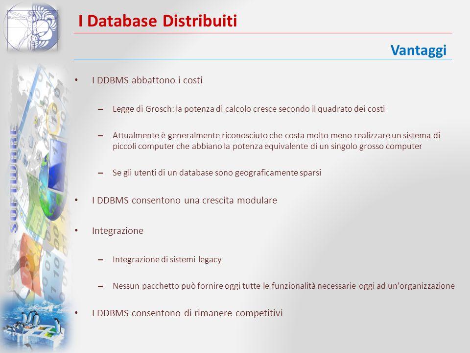 I Database Distribuiti Complessità – Un DBMS distribuito è inerentemente più complessi di un DBMS centralizzato – I dati possono essere replicati Costi Sicurezza Controllo dellintegrità più difficile Mancanza di standard Mancanza di esperienza Progettazione dei database più complessa Svantaggi