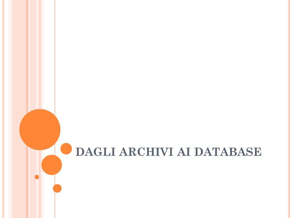 MOTIVAZIONI STORICHE ALLINTRODUZIONE DEI DB Nei primi tempi i dati erano parte integrante del programma e venivano organizzati seguendo la logica sia dellalgoritmo sia del supporto fisico di memorizzazione.