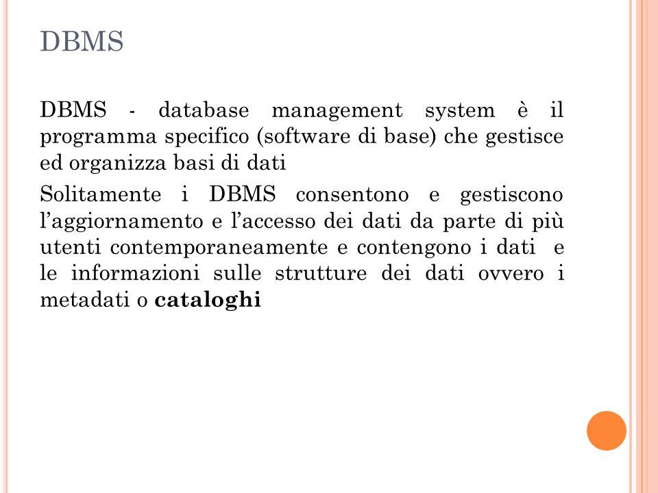 C ARATTERISTICHE DI UN DBMS I DBMS consentono lindipendenza dei dati dai programmi Indipendenza logica (Indipendenza logica) Indipendenza fisica : lorganizzazione a livello fisico dei dati può essere cambiata senza variazioni dellorganizzazione logica e viceversa.