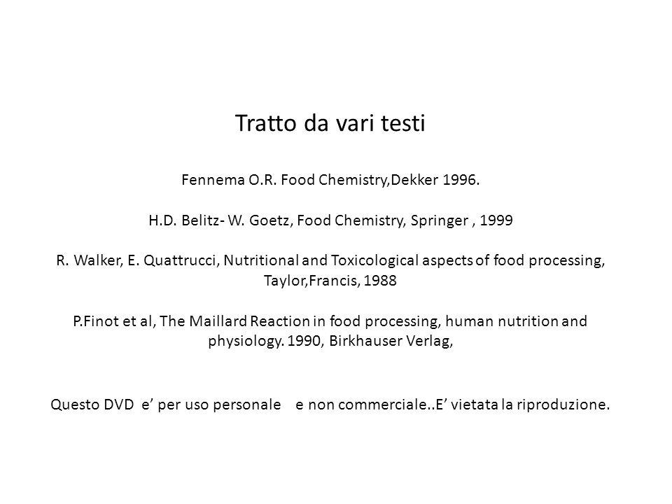 Tratto da vari testi Fennema O.R.Food Chemistry,Dekker 1996.