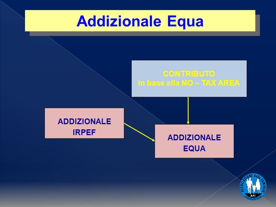 CONTRIBUTO in base alla NO – TAX AREA ADDIZIONALE IRPEF ADDIZIONALE EQUA Addizionale Equa