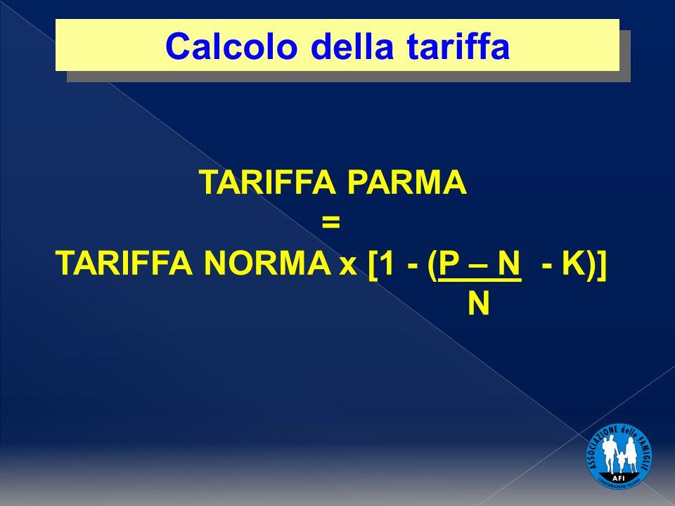 1 Calcolo della tariffa TARIFFA PARMA = TARIFFA NORMA x [1 - (P – N - K)] N