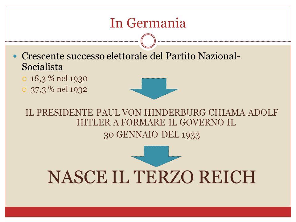 In Germania Crescente successo elettorale del Partito Nazional- Socialista 18,3 % nel 1930 37,3 % nel 1932 IL PRESIDENTE PAUL VON HINDERBURG CHIAMA AD