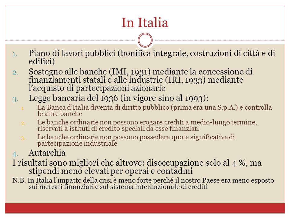 In Italia 1. Piano di lavori pubblici (bonifica integrale, costruzioni di città e di edifici) 2. Sostegno alle banche (IMI, 1931) mediante la concessi