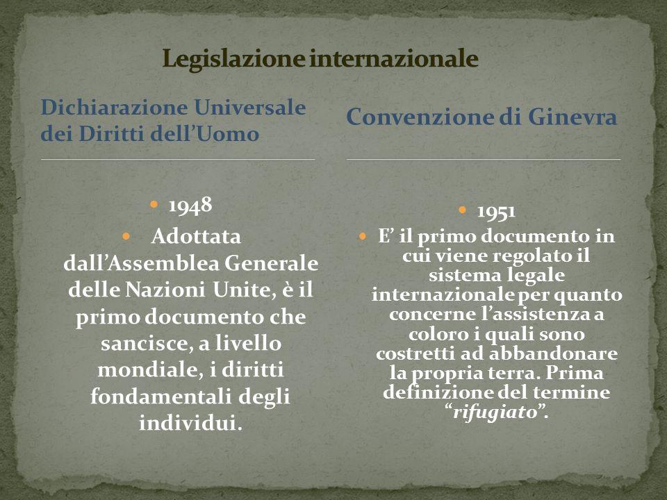Dichiarazione Universale dei Diritti dellUomo 1948 Adottata dallAssemblea Generale delle Nazioni Unite, è il primo documento che sancisce, a livello mondiale, i diritti fondamentali degli individui.
