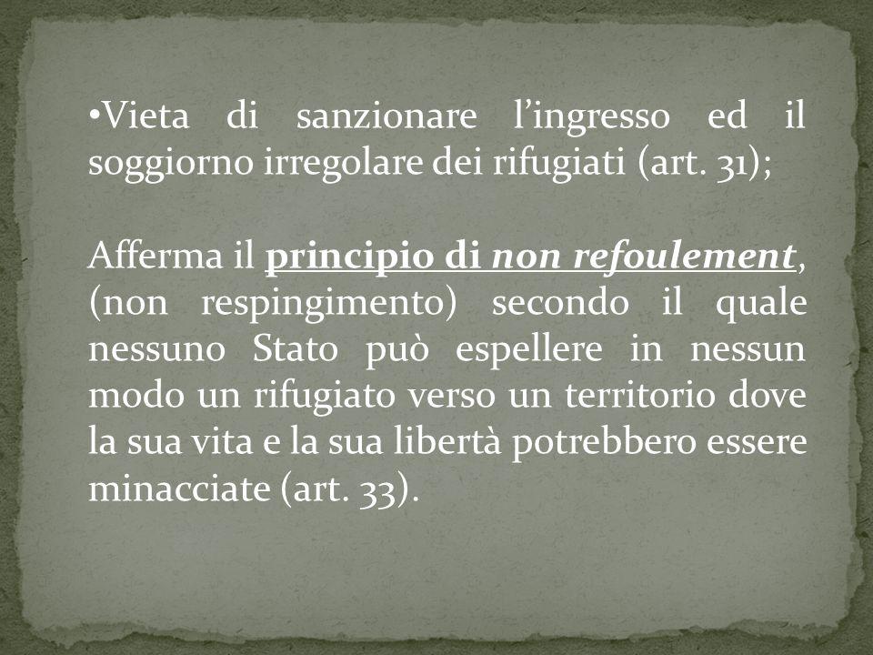Vieta di sanzionare lingresso ed il soggiorno irregolare dei rifugiati (art.