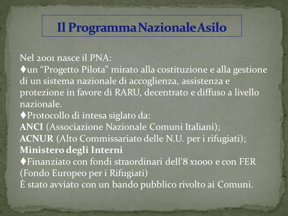 Nel 2001 nasce il PNA: un Progetto Pilota mirato alla costituzione e alla gestione di un sistema nazionale di accoglienza, assistenza e protezione in favore di RARU, decentrato e diffuso a livello nazionale.