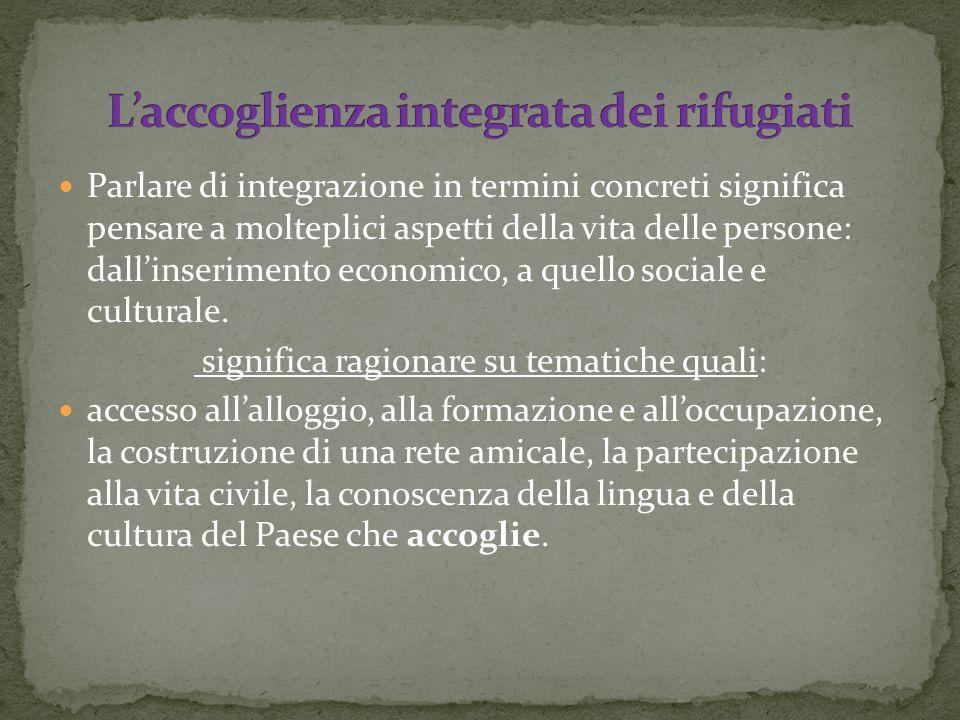 Parlare di integrazione in termini concreti significa pensare a molteplici aspetti della vita delle persone: dallinserimento economico, a quello sociale e culturale.