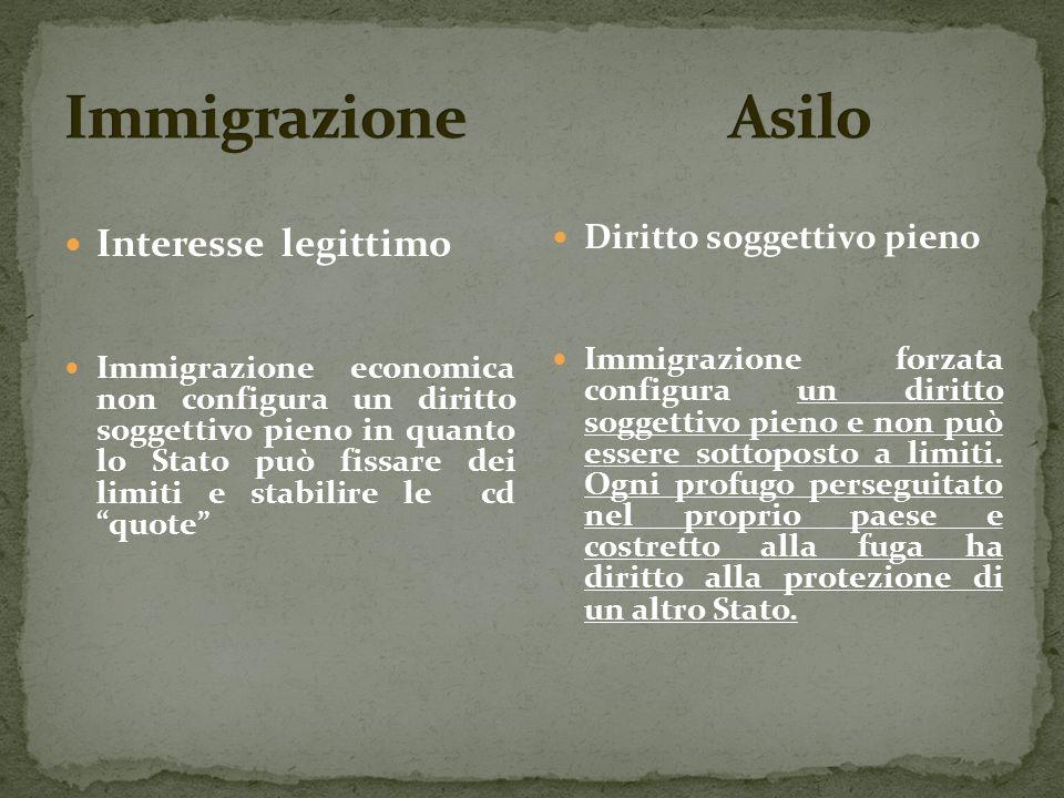 Interesse legittimo Immigrazione economica non configura un diritto soggettivo pieno in quanto lo Stato può fissare dei limiti e stabilire le cd quote Diritto soggettivo pieno Immigrazione forzata configura un diritto soggettivo pieno e non può essere sottoposto a limiti.
