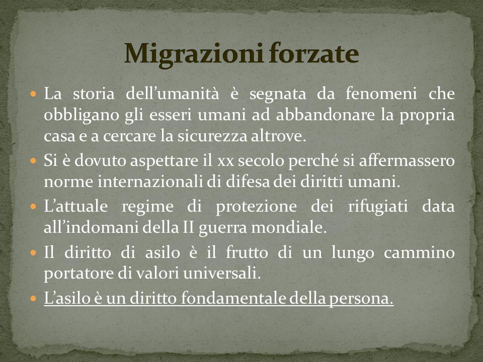 Il quadro normativo che regola la materia del diritto di asilo è diverso da quello che regola la materia dellimmigrazione, ed è complesso e articolato: si compone di atti relativi alla legislazione internazionale, a quella europea e a quella prodotta dai singoli Stati.