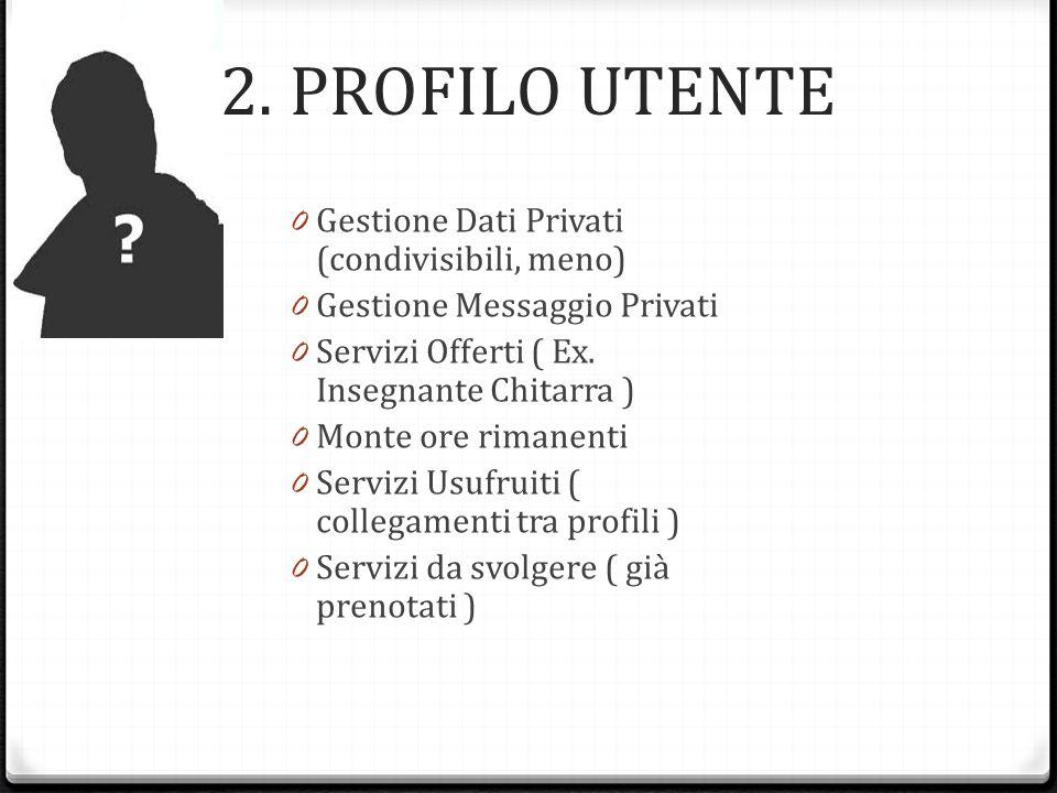 2. PROFILO UTENTE 0 Gestione Dati Privati (condivisibili, meno) 0 Gestione Messaggio Privati 0 Servizi Offerti ( Ex. Insegnante Chitarra ) 0 Monte ore