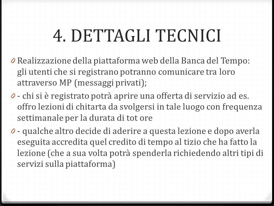 4. DETTAGLI TECNICI 0 Realizzazione della piattaforma web della Banca del Tempo: gli utenti che si registrano potranno comunicare tra loro attraverso