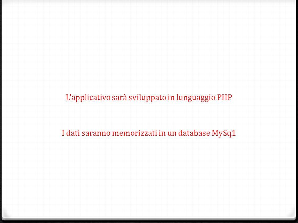 Lapplicativo sarà sviluppato in lunguaggio PHP I dati saranno memorizzati in un database MySq1