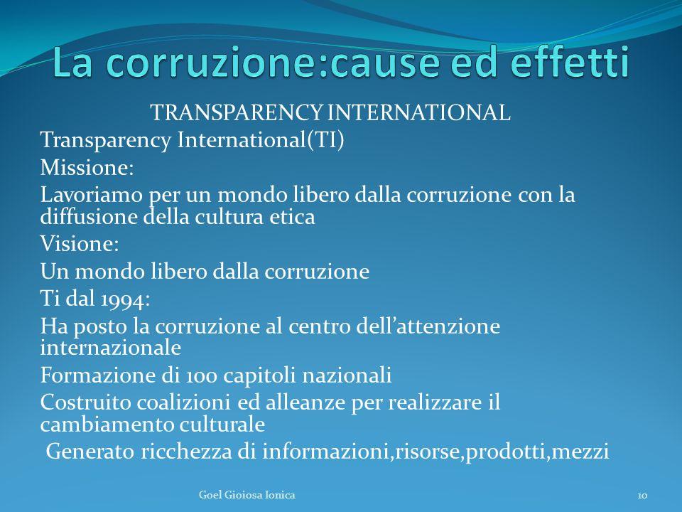 TRANSPARENCY INTERNATIONAL Transparency International(TI) Missione: Lavoriamo per un mondo libero dalla corruzione con la diffusione della cultura eti