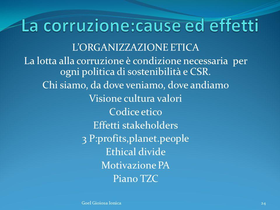 LORGANIZZAZIONE ETICA La lotta alla corruzione è condizione necessaria per ogni politica di sostenibilità e CSR.
