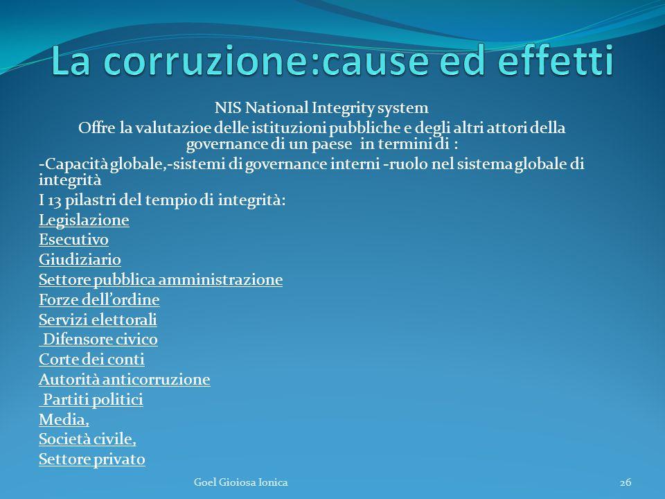 NIS National Integrity system Offre la valutazioe delle istituzioni pubbliche e degli altri attori della governance di un paese in termini di : -Capac