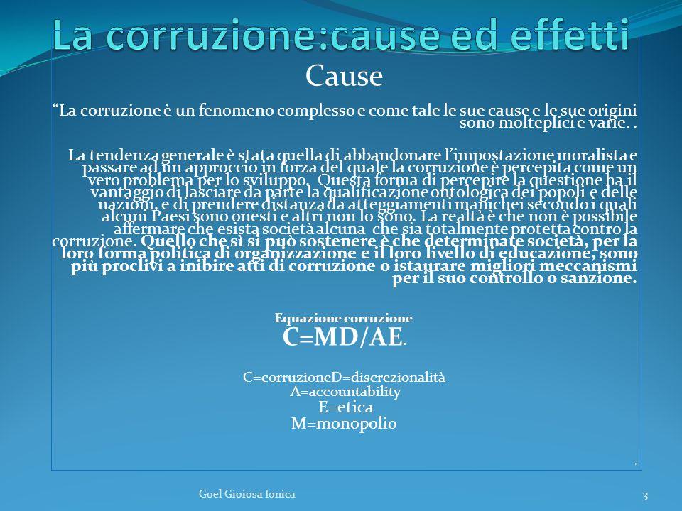 Cause La corruzione è un fenomeno complesso e come tale le sue cause e le sue origini sono molteplici e varie..