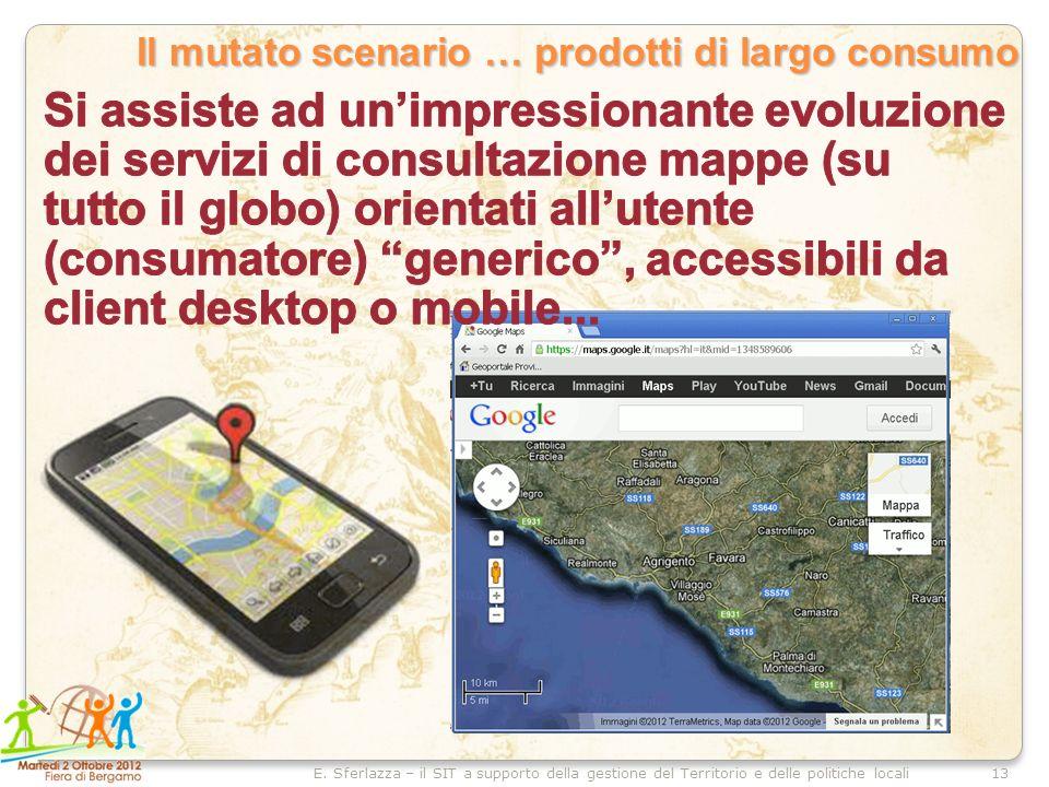 13E. Sferlazza – il SIT a supporto della gestione del Territorio e delle politiche locali Il mutato scenario … prodotti di largo consumo