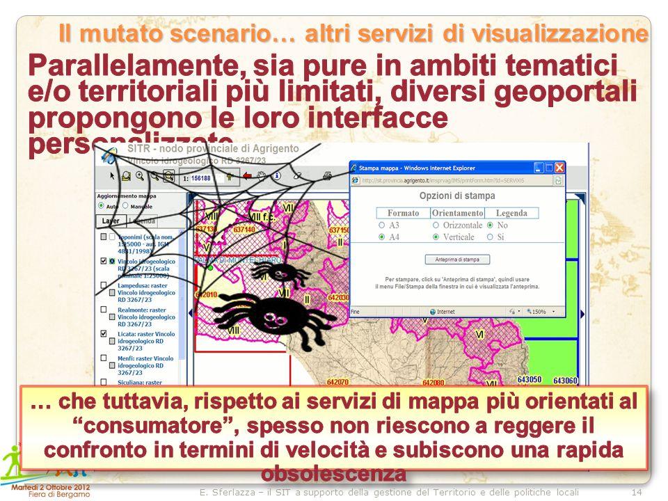 14E. Sferlazza – il SIT a supporto della gestione del Territorio e delle politiche locali Il mutato scenario… altri servizi di visualizzazione