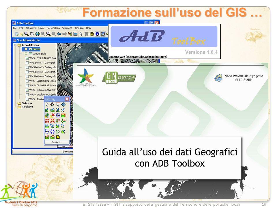 19E. Sferlazza – il SIT a supporto della gestione del Territorio e delle politiche locali Formazione sulluso del GIS …
