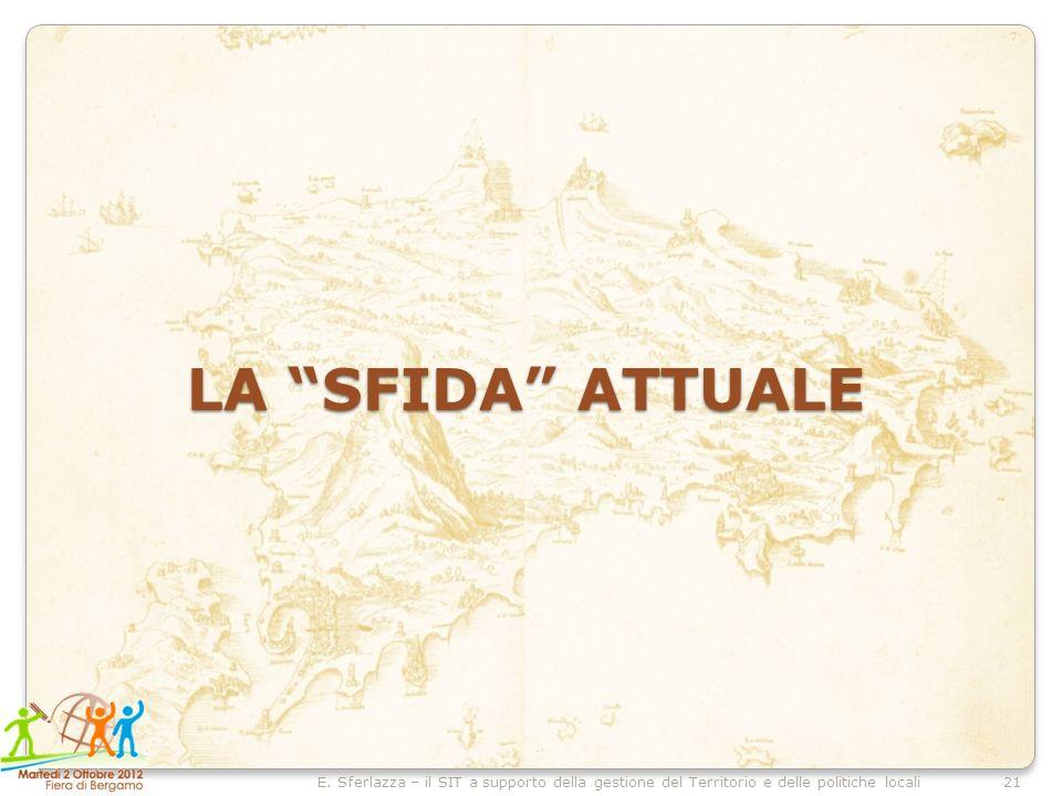 21E. Sferlazza – il SIT a supporto della gestione del Territorio e delle politiche locali LA SFIDA ATTUALE