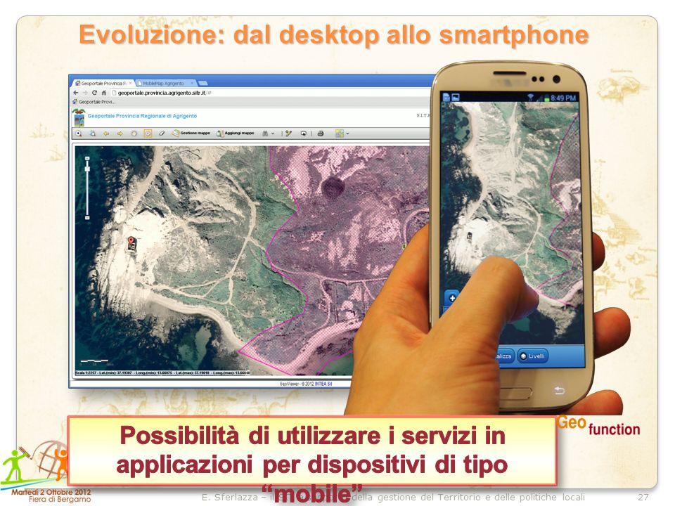 27E. Sferlazza – il SIT a supporto della gestione del Territorio e delle politiche locali Evoluzione: dal desktop allo smartphone Evoluzione: dal desk