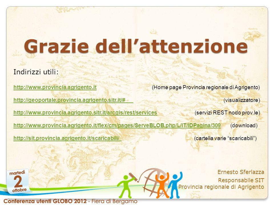 Grazie dellattenzione Ernesto Sferlazza Responsabile SIT Provincia regionale di Agrigento Indirizzi utili: http://www.provincia.agrigento.ithttp://www