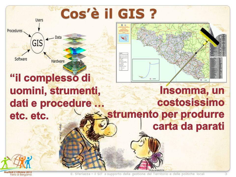 3E. Sferlazza – il SIT a supporto della gestione del Territorio e delle politiche locali Cosè il GIS ?