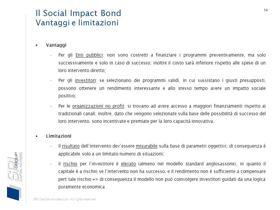 SRI Capital Advisers Ltd - All rights reserved 14 Il Social Impact Bond Vantaggi e limitazioni Vantaggi Per gli Enti pubblici: non sono costretti a fi