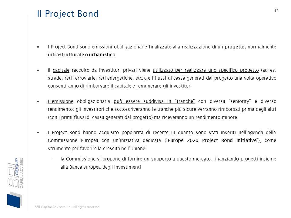 SRI Capital Advisers Ltd - All rights reserved 17 Il Project Bond I Project Bond sono emissioni obbligazionarie finalizzate alla realizzazione di un progetto, normalmente infrastrutturale o urbanistico Il capitale raccolto da investitori privati viene utilizzato per realizzare uno specifico progetto (ad es.