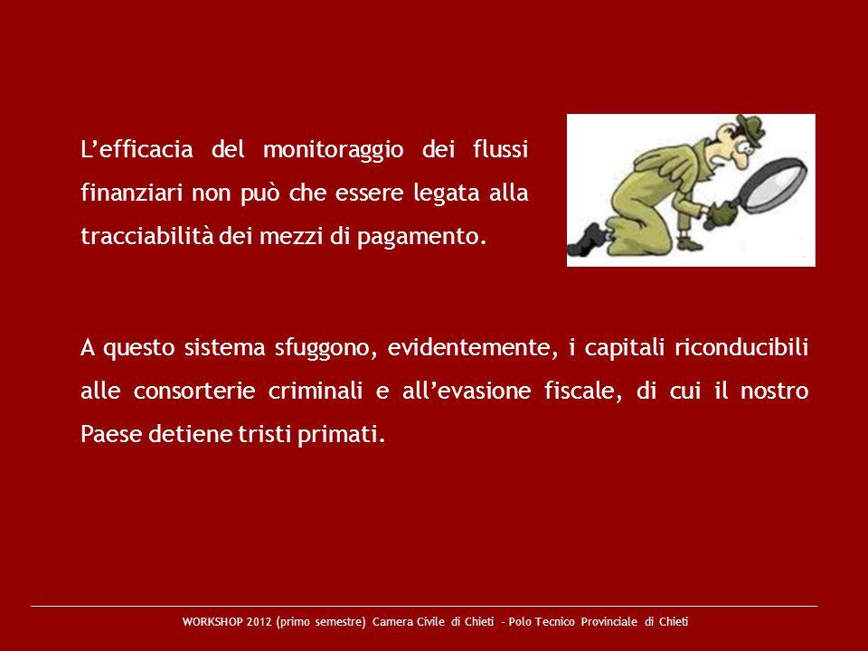 WORKSHOP 2012 (primo semestre) Camera Civile di Chieti - Polo Tecnico Provinciale di Chieti Lefficacia del monitoraggio dei flussi finanziari non può