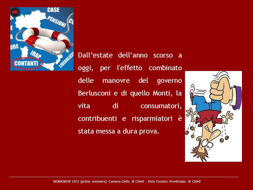 Dallestate dellanno scorso a oggi, per l'effetto combinato delle manovre del governo Berlusconi e di quello Monti, la vita di consumatori, contribuent