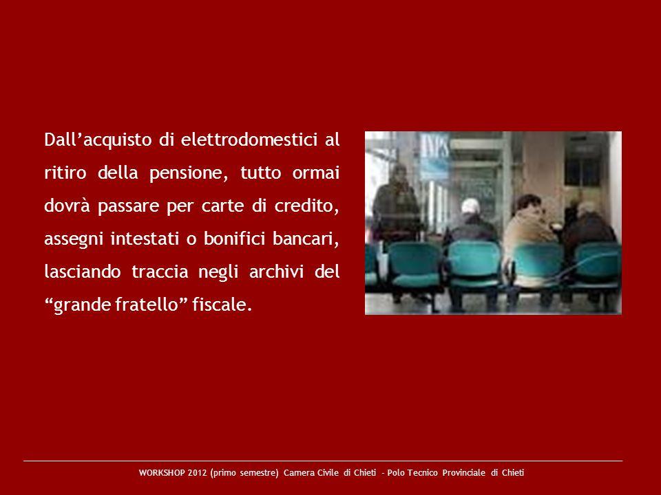 WORKSHOP 2012 (primo semestre) Camera Civile di Chieti - Polo Tecnico Provinciale di Chieti Dallacquisto di elettrodomestici al ritiro della pensione,