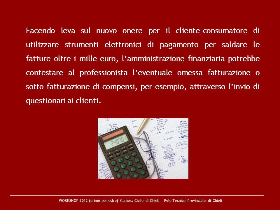 WORKSHOP 2012 (primo semestre) Camera Civile di Chieti - Polo Tecnico Provinciale di Chieti Facendo leva sul nuovo onere per il cliente-consumatore di
