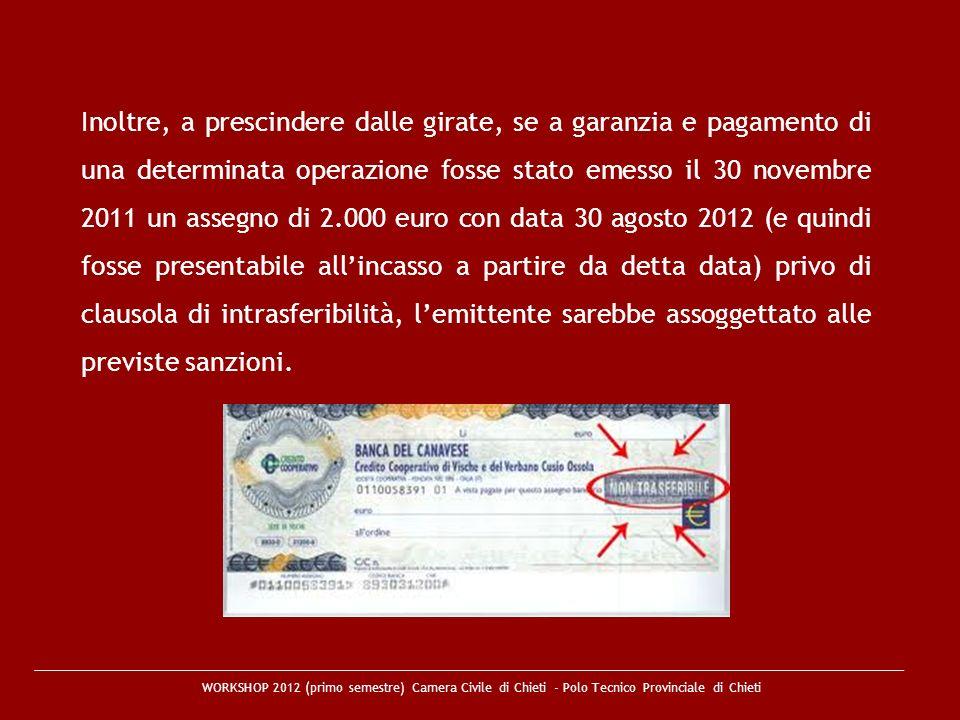 WORKSHOP 2012 (primo semestre) Camera Civile di Chieti - Polo Tecnico Provinciale di Chieti Inoltre, a prescindere dalle girate, se a garanzia e pagam
